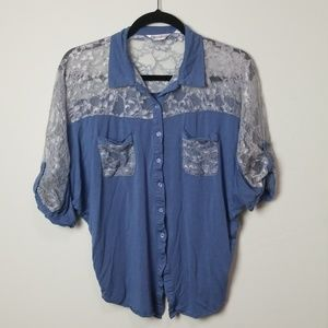 Monoreno lace button up blouse top